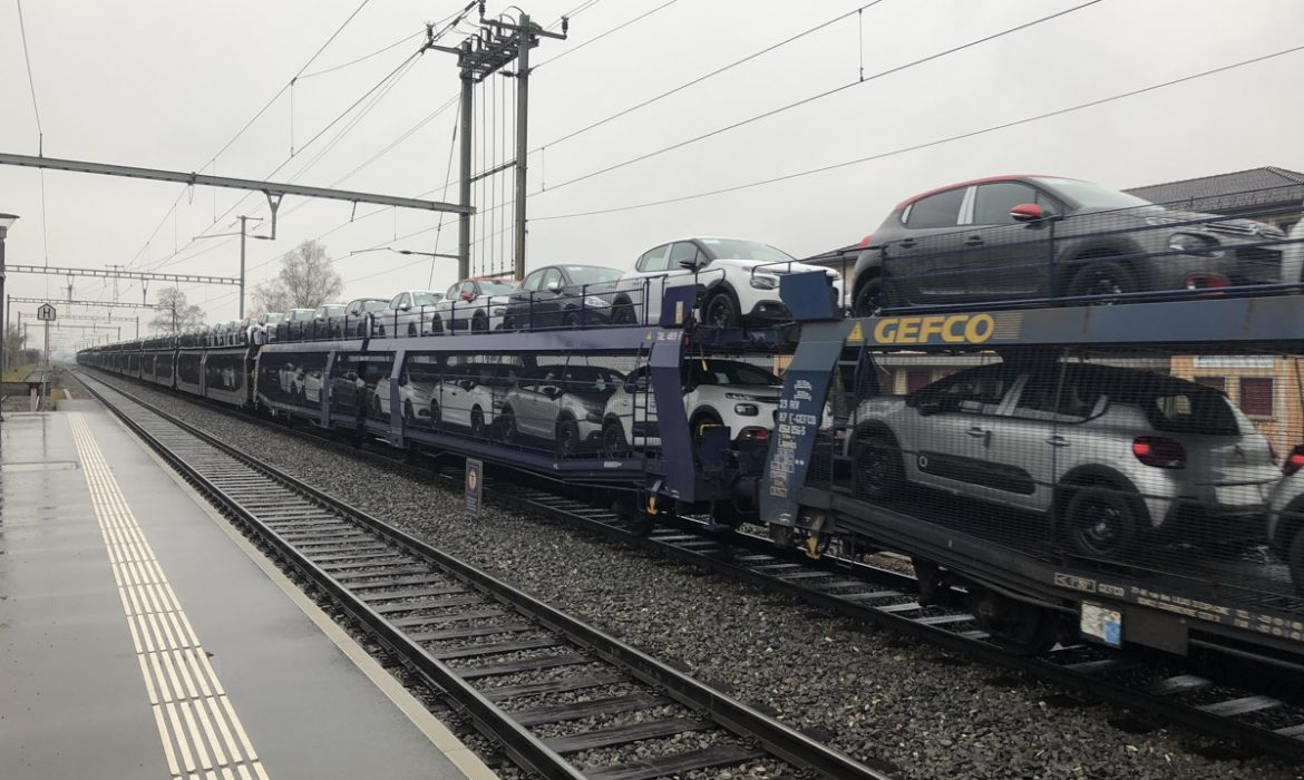 Car transporter on rails in Switzerland