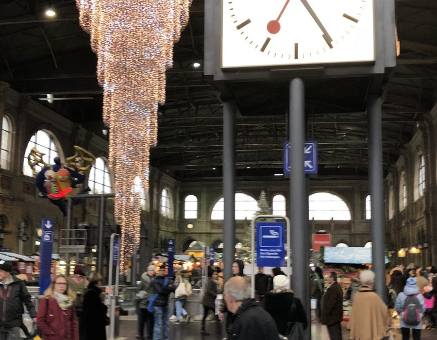Railway station in Zurich with Christmas decorations