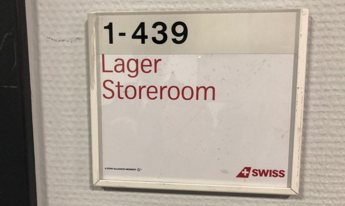 Sign showing the words Lager Storeroom