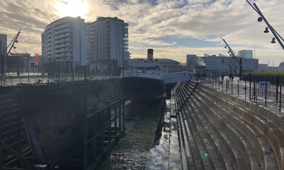 SS Nomadic ship with winter sun and clouds